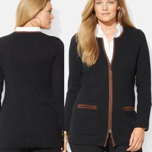 Lauren Ralph Lauren Faux Suede Trim Zip Up Sweater